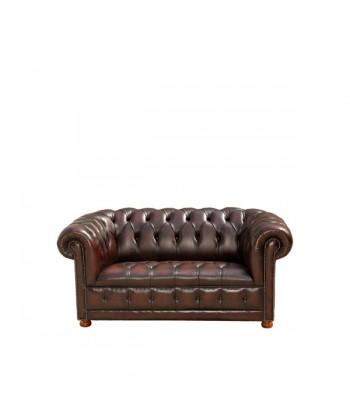 Canapé Chesterfield en cuir marron : 2 Places