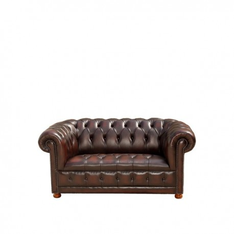 Canapé Chesterfield en cuir marron : 2 Places