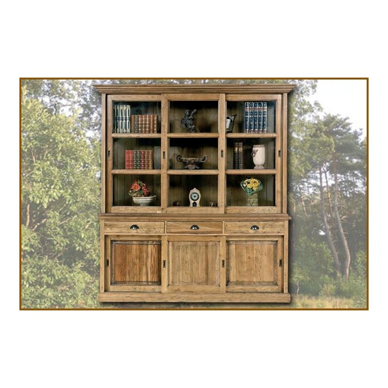 biblioth que 3 portes 3 tiroirs ch ne massif pas cher. Black Bedroom Furniture Sets. Home Design Ideas