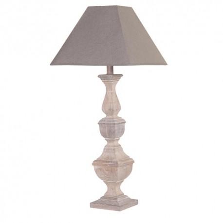 Lampe pied bois abat-jour tissu lin