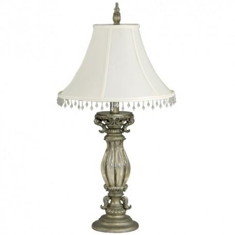 Lampe abat-jour tissu et perle