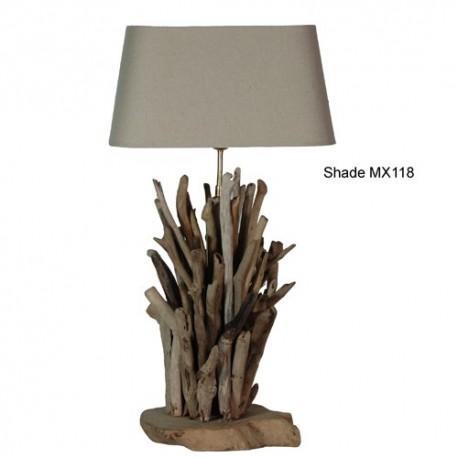 Lampe abat-jour tissu lin, pied en bois