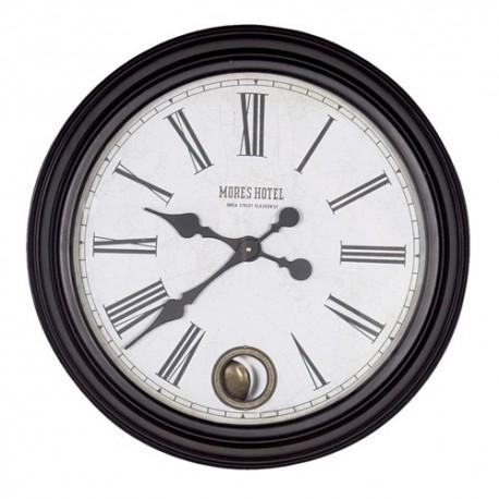 Horloge murale ronde en métal noir