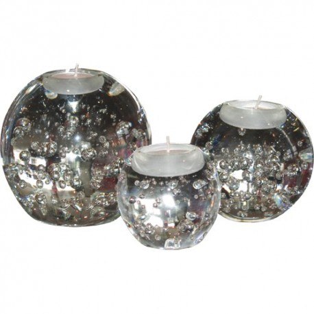 Set de 3 Bougeoirs en verre