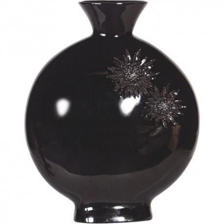 Vase noir motif floral