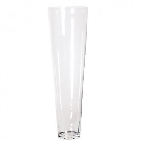 Vase en verre conique H 70 cm