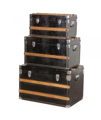set de 3 coffres cuir noir