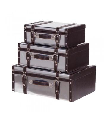 set de 3 malles effet métal