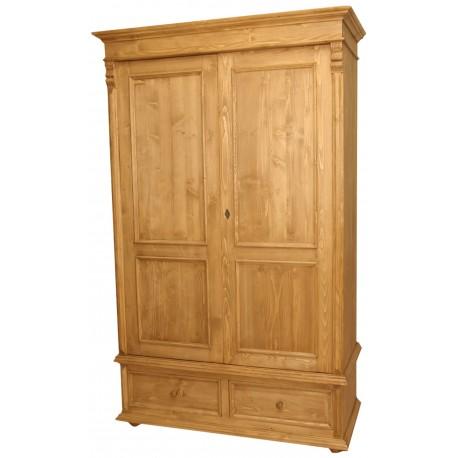 Armoire 2 portes 2 tiroirs en pin