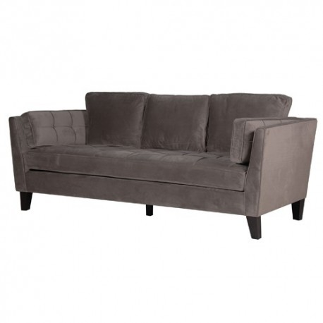 CANAPE 3 PLACES EN VELOURS ASSISE COUSSINS