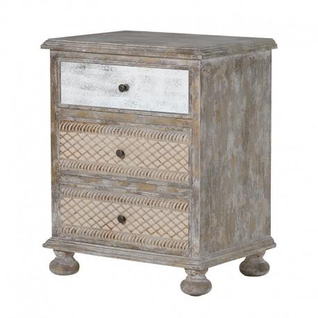 chevet en bois 3 tiroirs