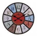 Horloge ronde métal multicolore