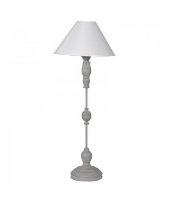LAMPE PIED METAL ABAT-JOUR BLANC