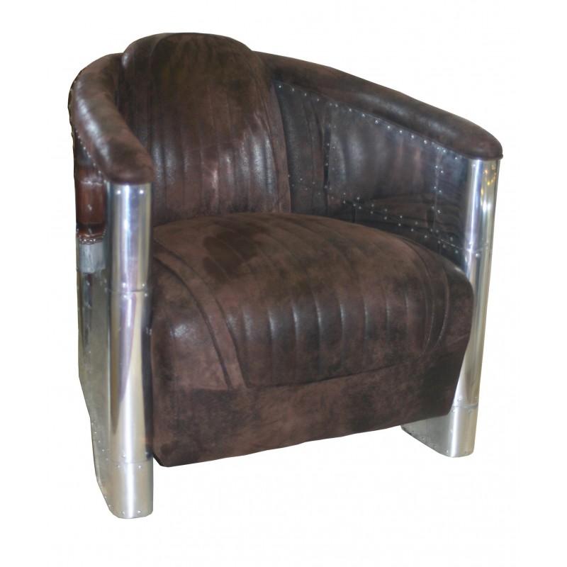 fauteuil club tissu et alu pas cher british d co. Black Bedroom Furniture Sets. Home Design Ideas