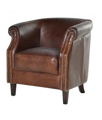 "Fauteuil Club assise coussin cuir vieilli ""Vintage""MAYFAIR"