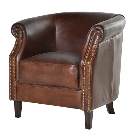 fauteuil club assise coussin cuir vieilli vintage. Black Bedroom Furniture Sets. Home Design Ideas