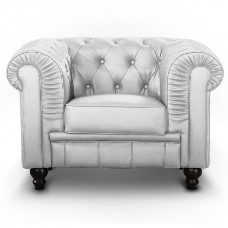 Fauteuil Chesterfield Argent