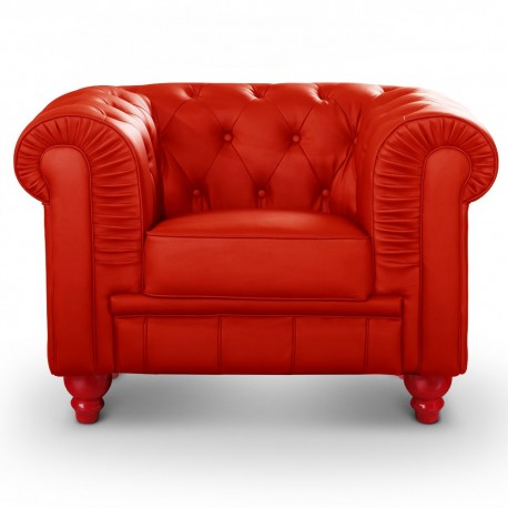 Fauteuil Chesterfield Rouge