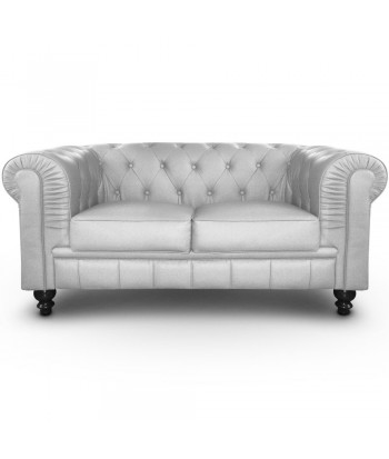 Canapé 2 places Chesterfield Argent