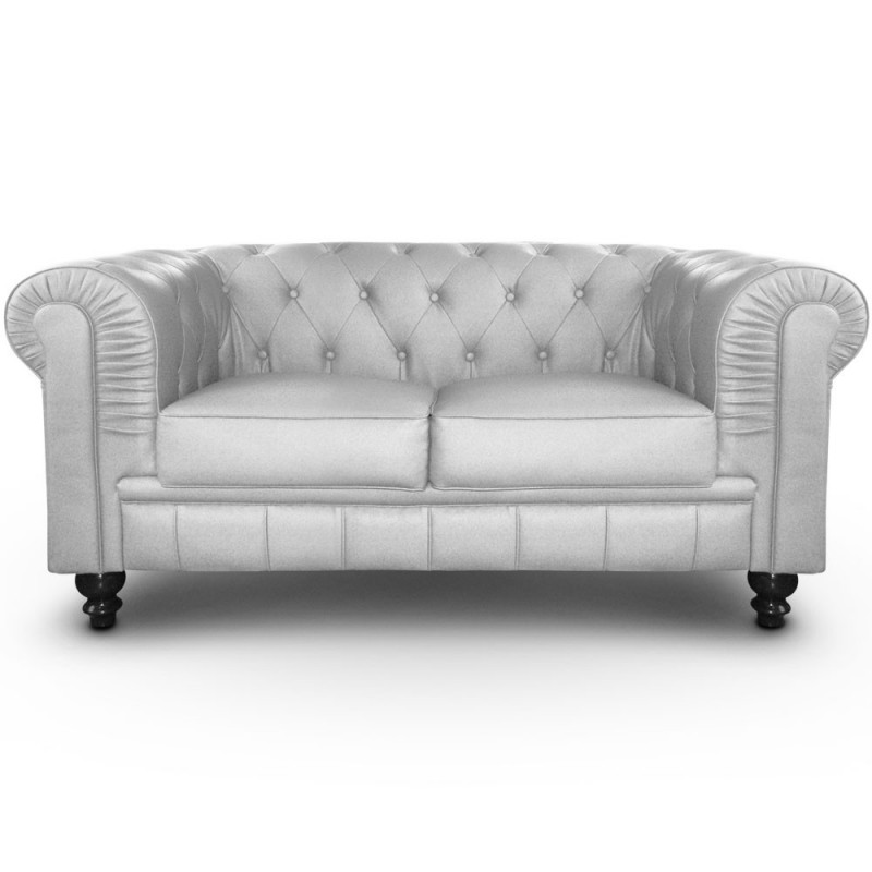 canap 2 places chesterfield argent pas cher british d co. Black Bedroom Furniture Sets. Home Design Ideas