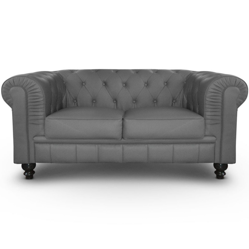 Canap 2 places chesterfield gris pas cher british d co - Canape chesterfield gris ...
