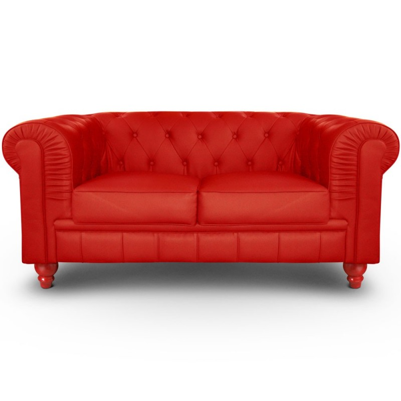 Canap 2 places chesterfield rouge pas cher british d co - Canape chesterfield 2 places ...