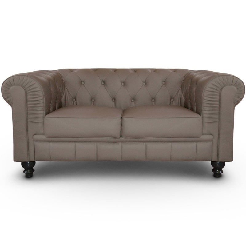 Canap 2 Places Chesterfield Taupe Pas Cher British D Co