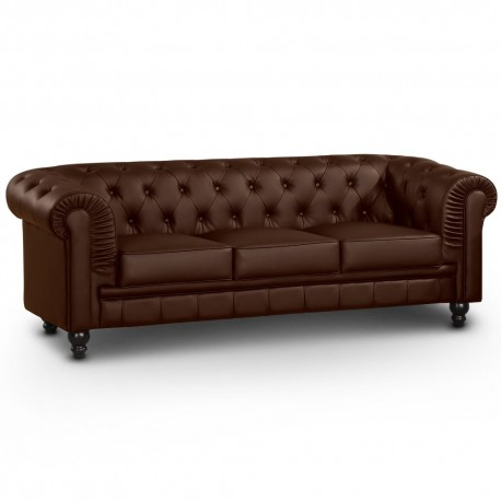 Canapé 3 places Chesterfield Marron
