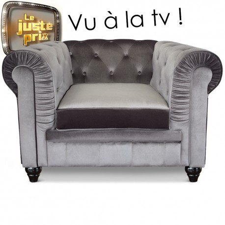 Fauteuil Chesterfield velours Argent