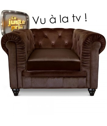 Fauteuil Chesterfield velours Marron