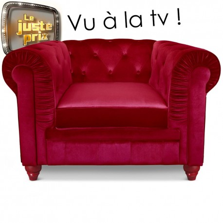 Fauteuil Chesterfield velours Rouge