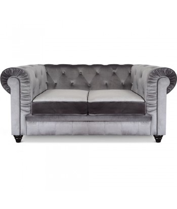 Canapé 2 places Chesterfield Velours Argent