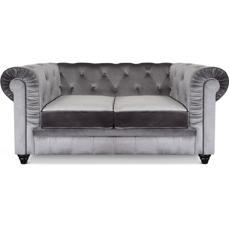 canap 2 places chesterfield velours argent pas cher british d co. Black Bedroom Furniture Sets. Home Design Ideas