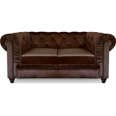 Canapé 2 places Chesterfield Velours Marron