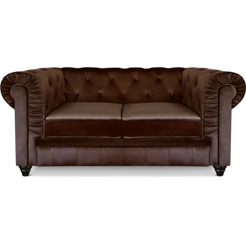 Canap 2 Places Chesterfield Velours Marron Pas Cher