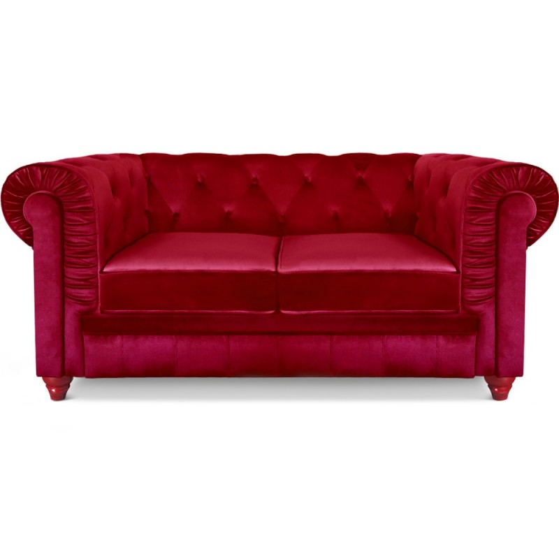 canap 2 places chesterfield velours rouge pas cher british d co. Black Bedroom Furniture Sets. Home Design Ideas