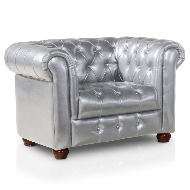 fauteuil chesterfield argent chrom pas cher british d co. Black Bedroom Furniture Sets. Home Design Ideas
