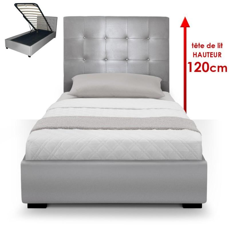 lit coffre sommier 90cm argent pas cher british d co. Black Bedroom Furniture Sets. Home Design Ideas