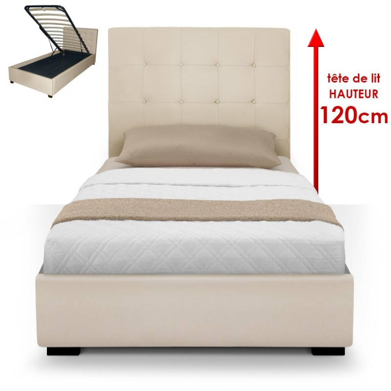 lit coffre sommier 90cm beige pas cher british d co. Black Bedroom Furniture Sets. Home Design Ideas
