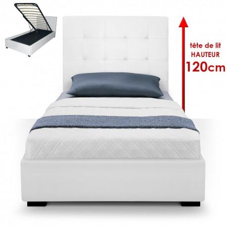 Lit Coffre + Sommier 90cm Blanc