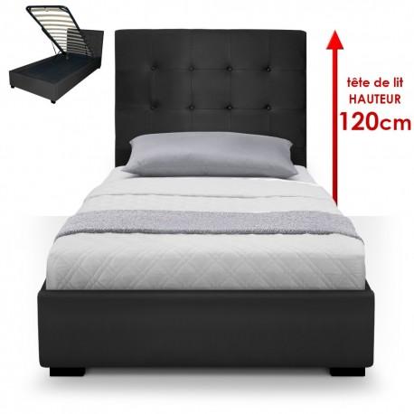 lit coffre sommier 90cm noir pas cher british d co. Black Bedroom Furniture Sets. Home Design Ideas