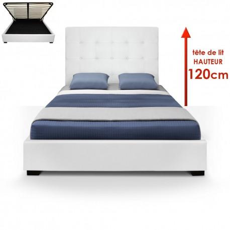 Lit Coffre + Sommier 140cm Blanc