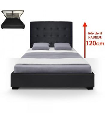 Lit Coffre + Sommier 140cm Noir