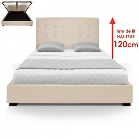 lit coffre sommier 160cm beige pas cher british d co. Black Bedroom Furniture Sets. Home Design Ideas