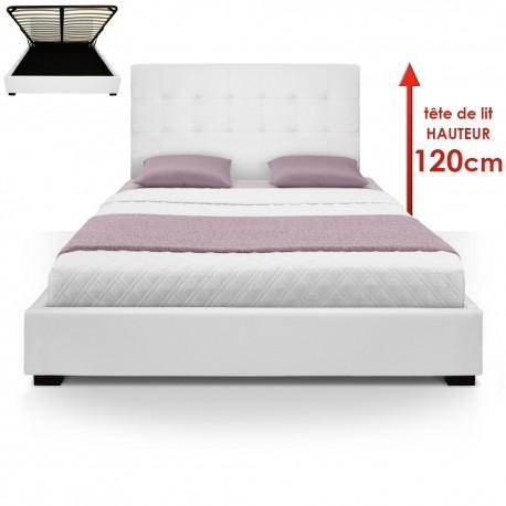 Lit Coffre + Sommier 160cm Blanc