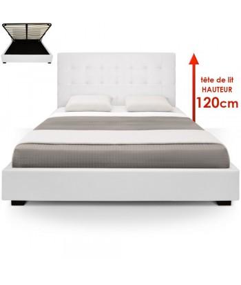 Lit Coffre + Sommier 180cm Blanc