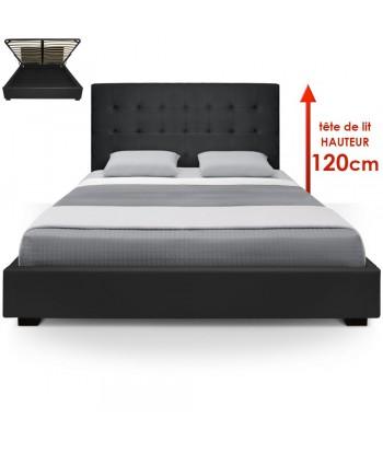 Lit Coffre + Sommier 180cm Noir