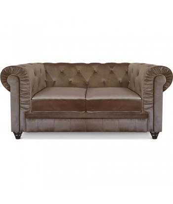 Canapé 2 places Chesterfield Velours Taupe