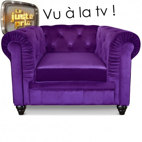 Fauteuil Chesterfield velours Violet