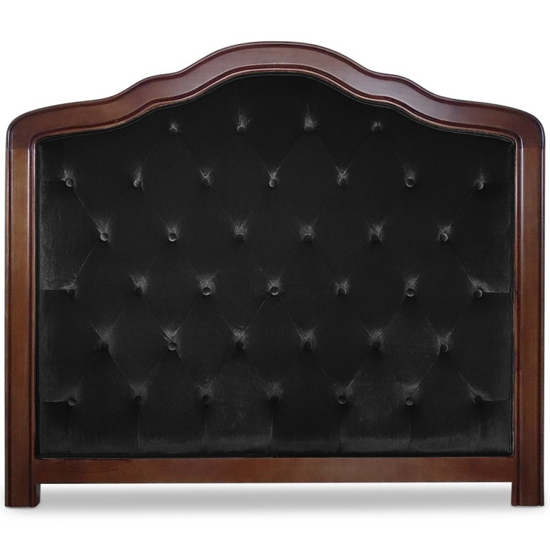 t te de lit capitonn e 140cm velours noir pas cher. Black Bedroom Furniture Sets. Home Design Ideas